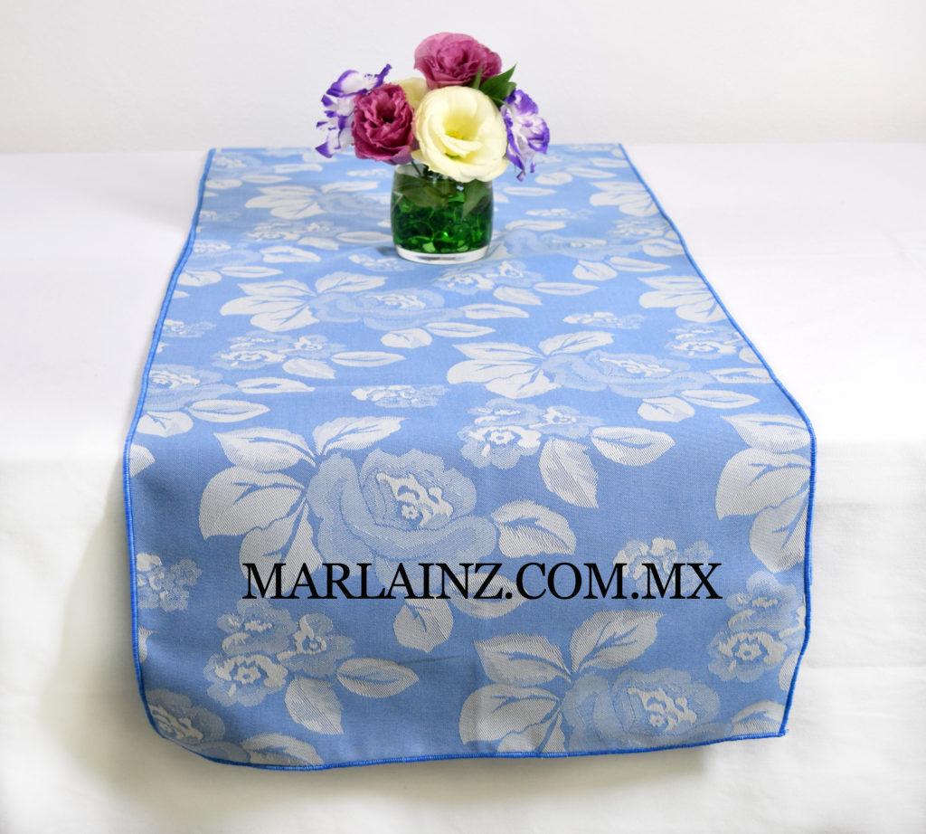 Camino de Mesa Vintage Mil Rosas Azul