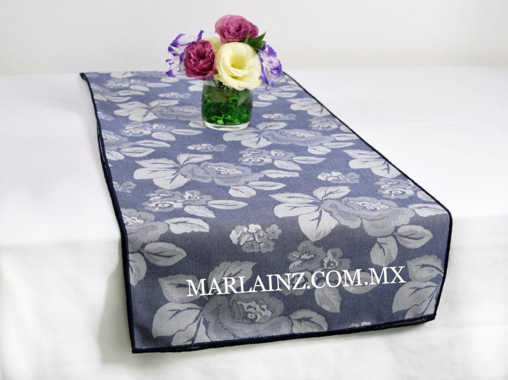 Camino de Mesa Vintage Mil Rosas Azul Marino