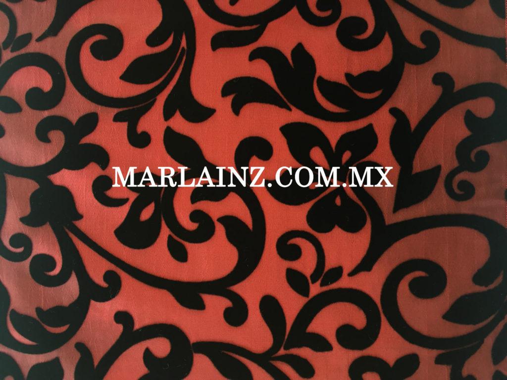 Tela Fantasy Barroco Enredadera Color Rojo Quemado