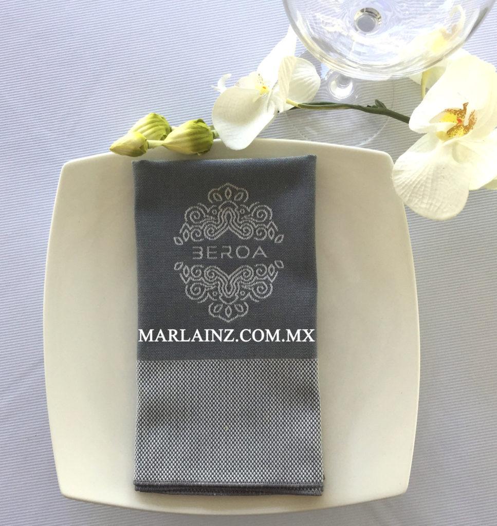 Servilleta Vintage Diamantes Satín Gris Personalizada (3)